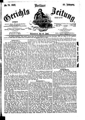 Berliner Gerichts-Zeitung vom 18.06.1892