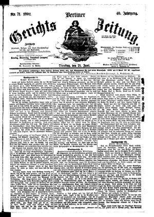 Berliner Gerichts-Zeitung vom 21.06.1892