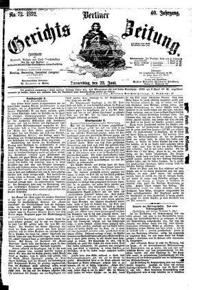 Berliner Gerichts-Zeitung vom 23.06.1892