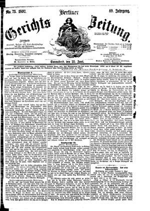 Berliner Gerichts-Zeitung vom 25.06.1892