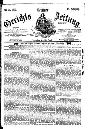 Berliner Gerichts-Zeitung vom 30.06.1892