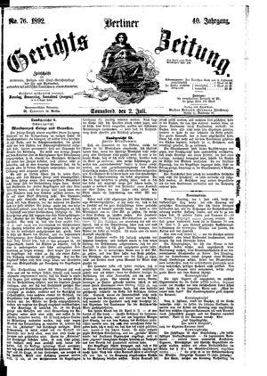 Berliner Gerichts-Zeitung vom 02.07.1892