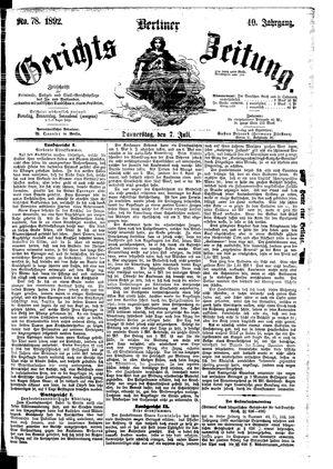 Berliner Gerichts-Zeitung vom 07.07.1892