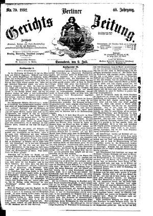 Berliner Gerichts-Zeitung vom 09.07.1892