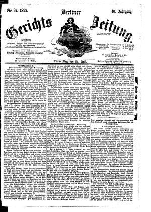 Berliner Gerichts-Zeitung vom 14.07.1892