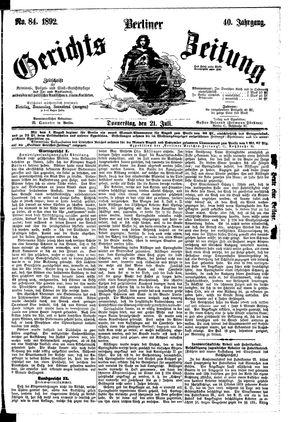 Berliner Gerichts-Zeitung vom 21.07.1892