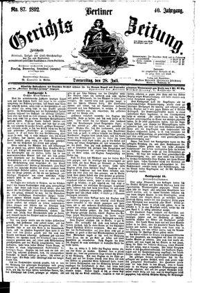 Berliner Gerichts-Zeitung vom 28.07.1892