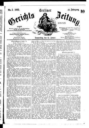 Berliner Gerichts-Zeitung vom 12.01.1893