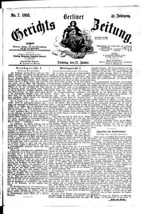 Berliner Gerichts-Zeitung vom 17.01.1893