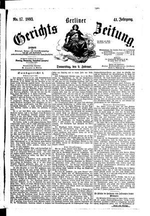 Berliner Gerichts-Zeitung vom 09.02.1893