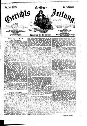 Berliner Gerichts-Zeitung vom 16.02.1893