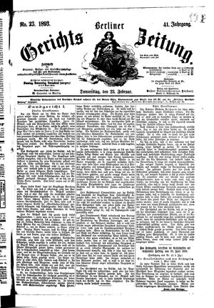 Berliner Gerichts-Zeitung vom 23.02.1893