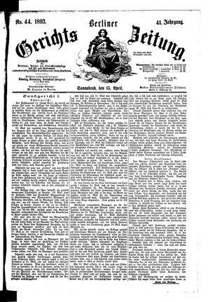 Berliner Gerichts-Zeitung vom 15.04.1893