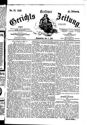 Berliner Gerichts-Zeitung vom 01.07.1893