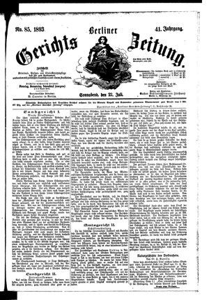 Berliner Gerichts-Zeitung vom 22.07.1893