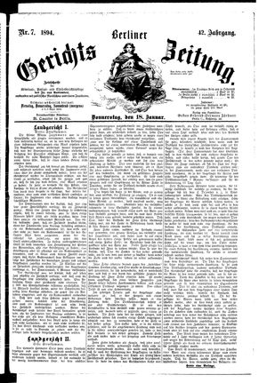 Berliner Gerichts-Zeitung vom 18.01.1894