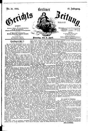 Berliner Gerichts-Zeitung on Apr 3, 1894