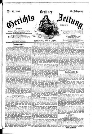 Berliner Gerichts-Zeitung vom 07.04.1894