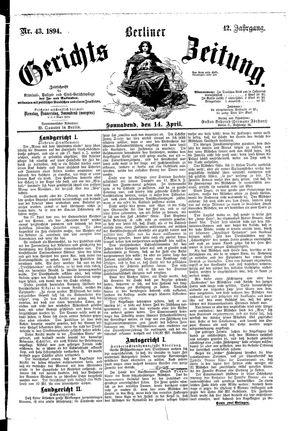 Berliner Gerichts-Zeitung on Apr 14, 1894