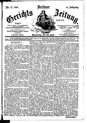 Berliner Gerichts-Zeitung vom 23.04.1896
