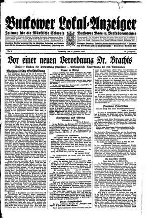 Buckower Lokal-Anzeiger vom 03.01.1933