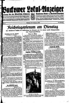 Buckower Lokal-Anzeiger vom 29.01.1933