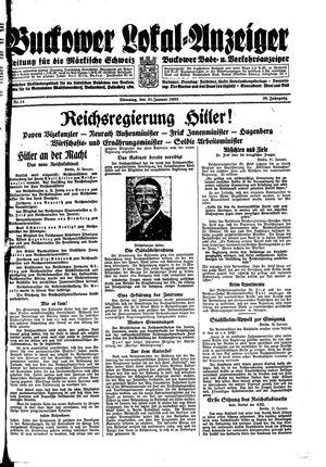 Buckower Lokal-Anzeiger vom 31.01.1933