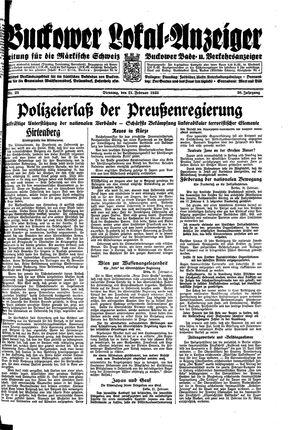 Buckower Lokal-Anzeiger vom 21.02.1933