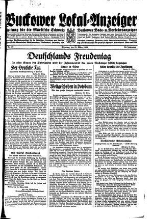 Buckower Lokal-Anzeiger vom 21.03.1933