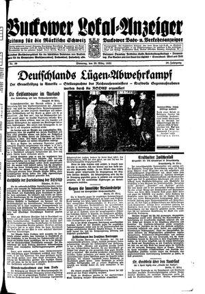 Buckower Lokal-Anzeiger vom 28.03.1933
