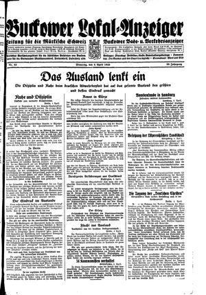 Buckower Lokal-Anzeiger vom 04.04.1933