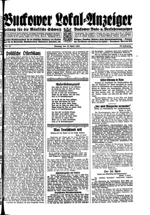 Buckower Lokal-Anzeiger on Apr 16, 1933