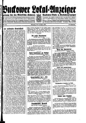 Buckower Lokal-Anzeiger vom 18.04.1933