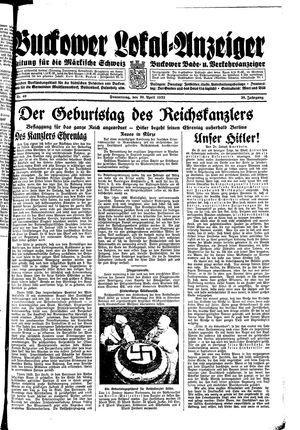 Buckower Lokal-Anzeiger vom 20.04.1933
