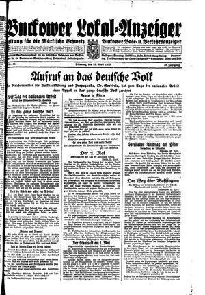 Buckower Lokal-Anzeiger vom 25.04.1933