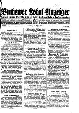 Buckower Lokal-Anzeiger vom 15.06.1933