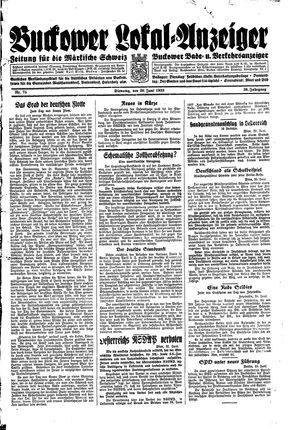 Buckower Lokal-Anzeiger vom 20.06.1933