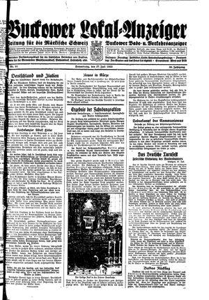 Buckower Lokal-Anzeiger vom 27.07.1933