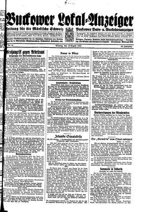 Buckower Lokal-Anzeiger vom 13.08.1933