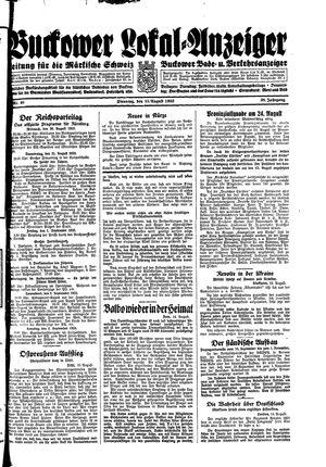 Buckower Lokal-Anzeiger vom 15.08.1933
