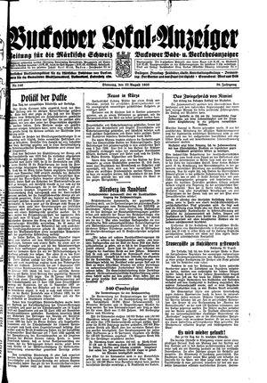 Buckower Lokal-Anzeiger vom 22.08.1933
