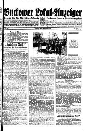 Buckower Lokal-Anzeiger vom 29.08.1933
