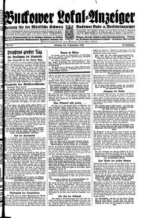 Buckower Lokal-Anzeiger vom 17.09.1933