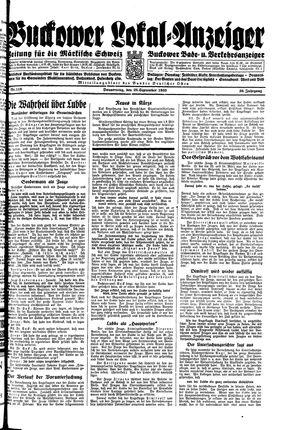Buckower Lokal-Anzeiger vom 28.09.1933