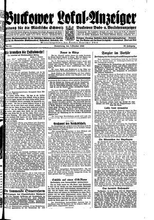 Buckower Lokal-Anzeiger vom 05.10.1933