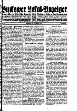 Buckower Lokal-Anzeiger vom 12.10.1933