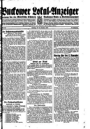 Buckower Lokal-Anzeiger vom 29.10.1933