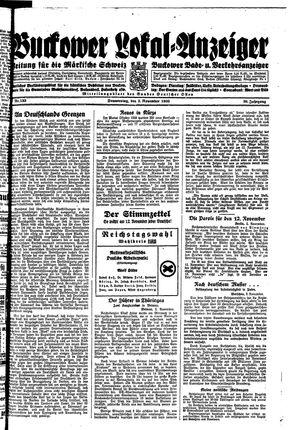 Buckower Lokal-Anzeiger vom 02.11.1933