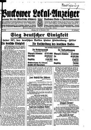 Buckower Lokal-Anzeiger vom 13.11.1933