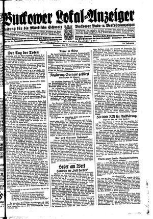 Buckower Lokal-Anzeiger vom 26.11.1933